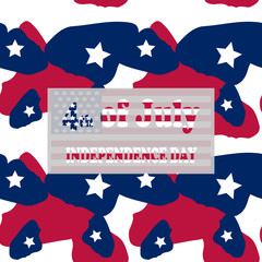 Camo background in national USA colors - white, red and navy blue and table with inscription 4th of July, Independence Day