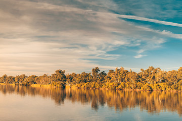 Tuinposter Rivier Murray river at sunset
