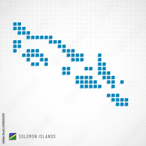 Solomon Islands map and flag icon