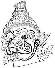 Thai Demon Black and White / Hand drawn black and white portrait illustration of Thai Demon.