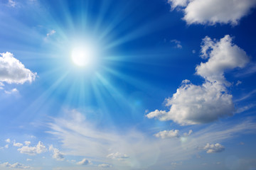 Sun and blue sky.