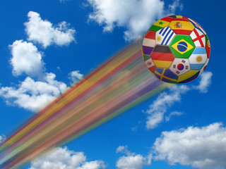 flying football with national colors