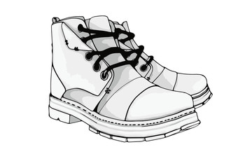 sketch of boots vector
