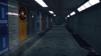 3D Rendering. Futuristic interior environment