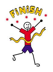 "Cartoon joyful little man crossing the finish line. Metaphor. Text on top ""Finish"". Vector picture."
