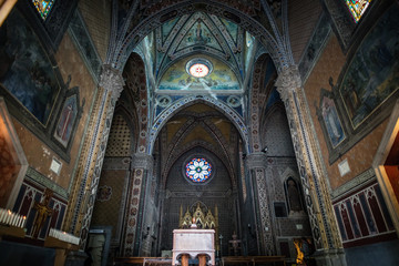 forli / Italy - 4 3 2017: Interiors of catholic medieval sanctuary dedicated to hermit saint Antonio from Padova, a famous italian Franciscan friar. Located in the Emilia Romagna region of Italy Wall mural