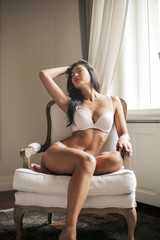 Beautiful woman in sensual white lingerie