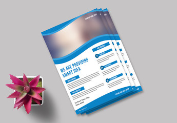 Business Flyer Layout with Wavy Photo Element