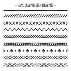 Tribal brushes. Border. Ethnic hand drawn vector line border set. Design element. Native brushes. Aztec geometric vintage fashion pattern for design. Trendy doodle style.