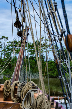 A small portion of the rigging that is used to control the Elizabeth II which is docked in Manteo, NC
