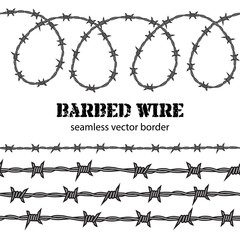 Barbed wire seamless border. Vector.
