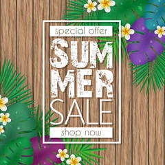Summer sale banner, poster template with palm leaves, jungle leaf and flowers on wood background.