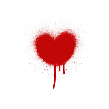 Big red heart, spray paint. Paint splatter texture isolated on white background. Vector illustration.