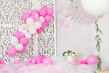 First birthday balloons and flowers decorated party