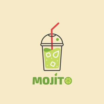 Vector illustration of summer cocktail mojito. Glass of Mojito with ice, lime, mint and straws
