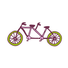 Vector tandem bike icon. Travel printed art. Sticker design.