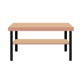 Wooden modern table. flat vector illustration isolated on white background