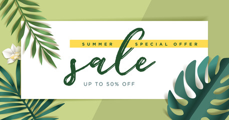 Summer sale vector illustration for mobile and social media banner, poster, shopping ads, marketing material