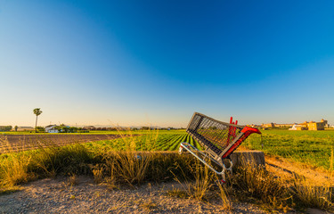 Abandoned empty food cart in the field. Valencia, Spain