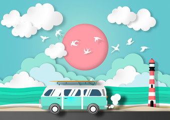 Paper art summer background with van car in summer beach view paper cut style vector