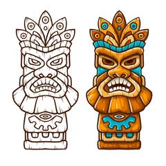 Tiki traditional hawaiian tribal mask with human face outline.