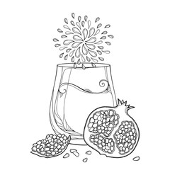 Vector outline drinking glass of Pomegranate fresh juice, half and whole fruit and seed in black isolated on white background. Pomegranate contour drawing for exotic summer design or coloring book.