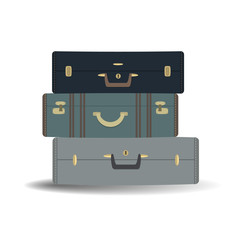 Three suitcases isolated on a white background. Vector illustration.