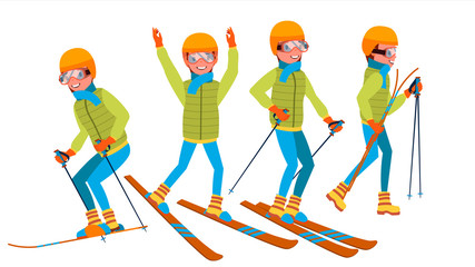 Skiing Male Vector. Holidays. Cross Country Skiing. Playing In Different Poses. Man. Isolated On White Cartoon Character Illustration