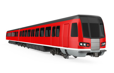 Red Commuter Train Isolated