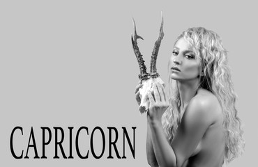 Astrology. Woman Capricorn Zodiac Sign.