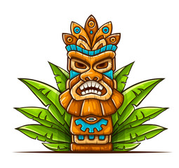 Tiki traditional hawaiian tribal mask with human face in green