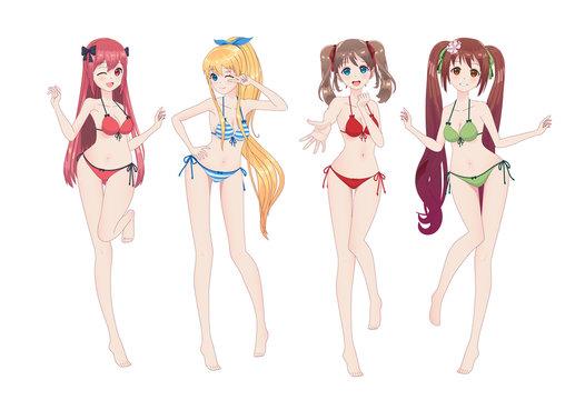 Beautiful anime manga girl in bikini