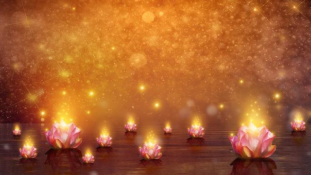 lotus Float water lotus flower on orange background