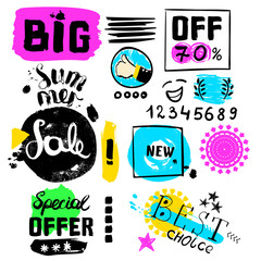 Big sale, special offer, new offer, numbers crazy doodles. Hand drawing multicolored different shapes. Doodle style brushes. Set of hand drawn sketch scribble inscription on white background