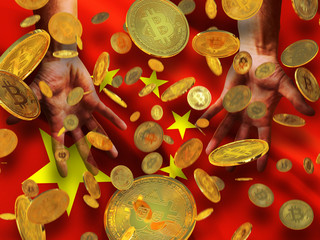 Bitcoin crypto currency China flag A lot of falling  gold bitcoins Rain of golden coins fall to the palms of the hands on China waving flag with five yellow stars background
