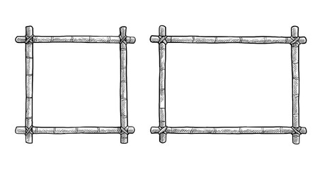 Bamboo frame illustration, drawing, engraving, ink, line art, vector