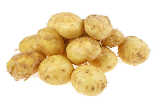 pile of young potatoes on a white background