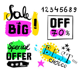 Big sale, special offer, best choice, numbers crazy doodles. Hand drawing multicolored different shapes. Doodle style brushes. Set of hand drawn sketch scribble inscription on white background