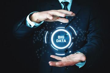 Man holding Big Data concept. Business, Technology, Internet concept