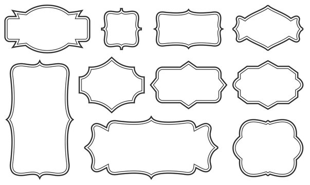 Creative vector illustration set of decorative vintage frames isolated on transparent background. Art design border labels. Blank frames template. Abstract concept graphic retro element