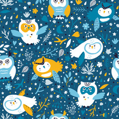 vector seamless background pattern with beautiful scandinavian owls for baby shower,  fabric, textile