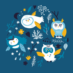 vector set with beautiful scandinavian owls for baby shower,  fabric, textile