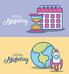 Digital marketing design with calendar and earth planet with  related icons over colorful background, vector illustration