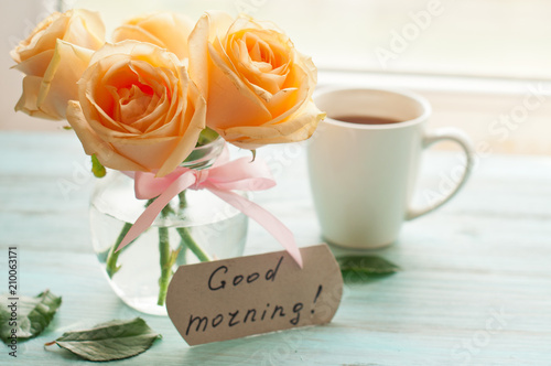 The Inscription With A Good Morning Yellow Roses And A Cup Of