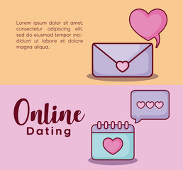 Infographic presentation of online dating concept with envelope and calendar icons over colorful background, vector illustration