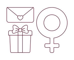 icon set of online dating over background, colorful line design. vector illustration