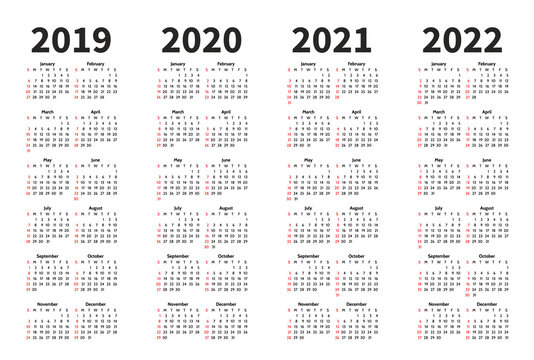 Calendar 2019, 2020, 2021 and 2022 year vector design template. Simple minimalizm style. Week starts from Sunday. Portrait Orientation. Set of 12 Months