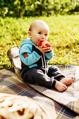 Cute little boy eating a red apple in green park