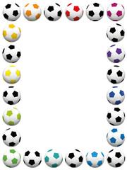 Soccer balls. Colorful vertical frame. Isolated vector illustration on white background.