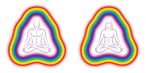 Meditating couple in yoga position with colorful subtle body or aura. Isolated vector illustration on white background.